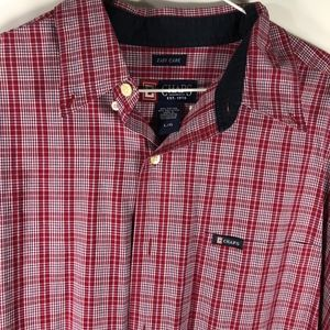 Chaps Mens Plaid Red Large Button Down Long Sleeve